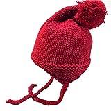 Smileq pour bébé Boule Casquette en tricot crochet Bonnet Hiver chaud Chapeau à lacets, Red