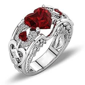 Schmuck Damen Ring, Dragon868 Silber natürliche Rubin Edelsteine Birthstone Braut Hochzeit Engagement Herz Ring (9, Rot)