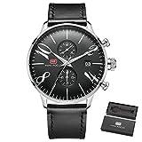 Luxury Marine Quartz Watch Men 2 Sub-dials Calendar Chronograph Ultra Thin Mesh Strap