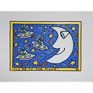 James Rizzi FLY ME TO THE MOON Kunstdruck Probedruck Farblithographie