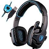SADES SA901 son Surround 7.1 USB Gaming Headset Jeu casque micro à distance pour PC portable (Bleu et noir)