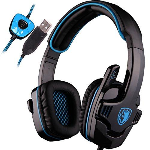 SADES SA901 7.1 Surround Sound Stereo Professionelle PC USB Gaming Headsets Stirnband Kopfhörer mit Mikrophon Tiefe Bässe Over-The-Ear-Lautstärkeregler für PC Gamers (blau)