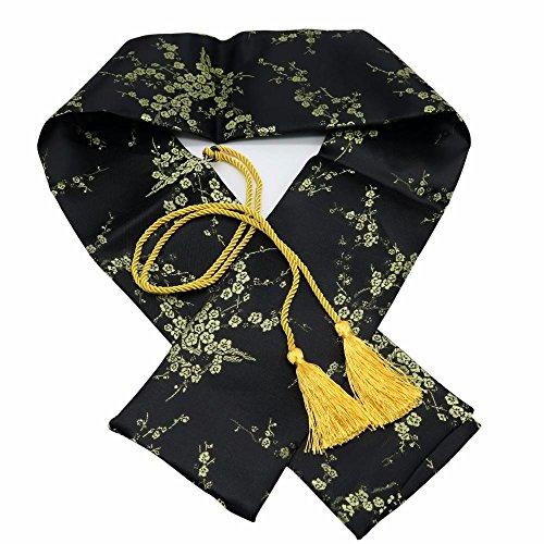 Panina Schwert-Tasche, 129,5cm, aus Seide, Pflaumenblüten-Muster, für japanische Schwerter wie Katana, Kurzschwerter, Tanto, Schwarz -