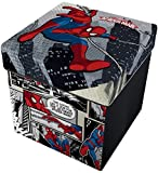 Star Licensing Marvel Spiderman Pouf Contenitore con Cuscino, 32x32x32 cm