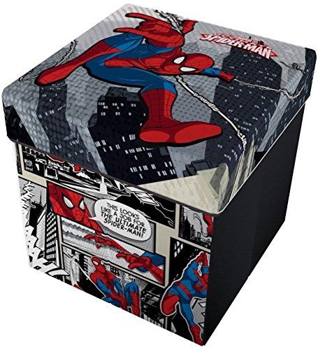 Star Licensing Marvel Spiderman Ottomane mit Kissen, Polyester, Mehrfarbig, 32x 32x 32cm -