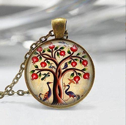 Vogel Schmuck, Granatapfel Fruit Tree Nature Art Anhänger, tree-of-life Halskette, Halskette, Baum Schmuck -