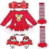 iEFiEL 4tlg Baby Kleidung Set Mädchen Bekleidungsset Kleid Tütü Bodys Strampler Stirnband Beinwärmer Schuhe (3-6 Monate, Rentier)