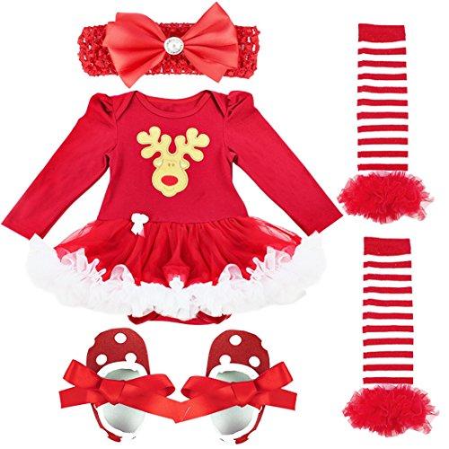 iEFiEL 4tlg Baby Kleidung Set Mädchen Bekleidungsset Kleid Tütü Bodys Strampler Stirnband Beinwärmer Schuhe (0-3 Monate, Rentier)