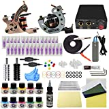 WORMHOLE TATTOO Komplettes Tattoo Kit mit Case 2 Tattoo Machines Dual Power Supply 30 Tattoo Nadeln 10 Farbtinten für Anfänger und Künstler EU Plug (TK1000020)