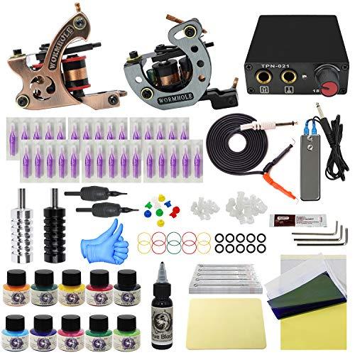 WORMHOLE TATTOO Komplettes Tattoo Kit mit Case 2 Tattoo Machines Dual Power Supply 30 Tattoo Nadeln 10 Farbtinten für Anfänger und Künstler EU Plug (TK1000020)