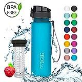 720°DGREE Trinkflasche 'uberBottle' - 500 ml, 0,5 l, Blau   Neuartige Tritan Wasser-Flasche   Water Bottle BPA Frei   Ideale Sportflasche für Kinder, Fitness, Fahrrad, Sport, Fussball
