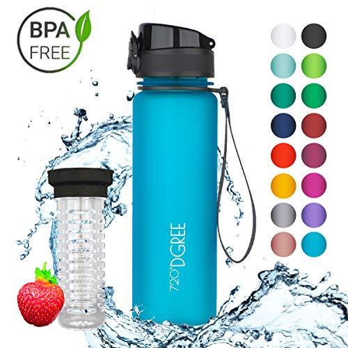 """720°DGREE Trinkflasche """"uberBottle"""" - 500 ml, 0,5 l, Blau   Neuartige Tritan Wasser-Flasche   Water Bottle BPA Frei   Ideale Sportflasche für Kinder, Fitness, Fahrrad, Sport, Fussball"""