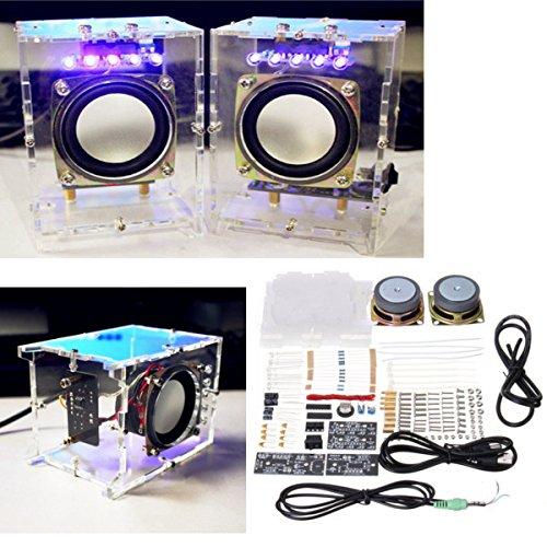 ROUHO 5V USB Mini Amplificador DIY Kit De Altavoces 70x75x103Mm 3W por...