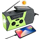 Radio AM/FM Portable à Manivelle, Solaire & USB Rechargeable Lampe de Poche LED,...