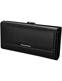 SODIAL(R) Wallet Women's Wallet Clutch Long Design Clip Wallet Long Wallets Coin Purse Bag Black