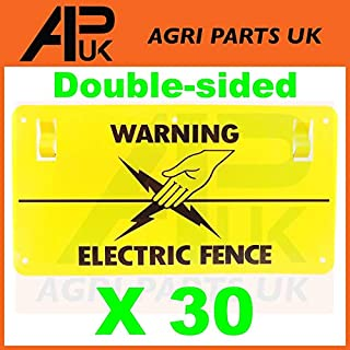 APUK 30x Electric Fence Warning Plastic Sign Double Sided Poly Wire tape Screw Fixing