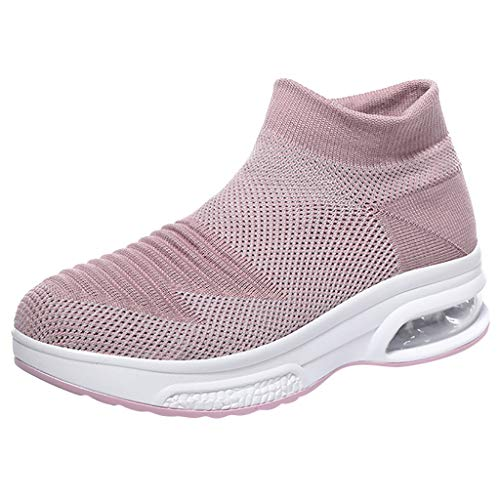 HROIJSL Frauen Mosh Sommer Mesh fliegen gewebte atmungsaktive Slip-On Socken Schuhe Air Cushion Sneakers Damen lässig dicken Boden Keile Luftkissen Sportschuhe Basic Lila Schwarz Pink Weiß -