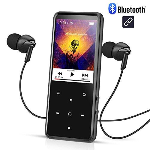 16GB Bluetooth 4.0 MP3 Player mit 2,4 Zoll TFT Farbbildschirm, 50 Stunden Wiedergabe Verlustfreie Sound Metall Musik Player, Touch-Taste mit Hintergrundbeleuchtung, unterstützt bis zu 128 GB, von AGPTEK C2S, Schwarz