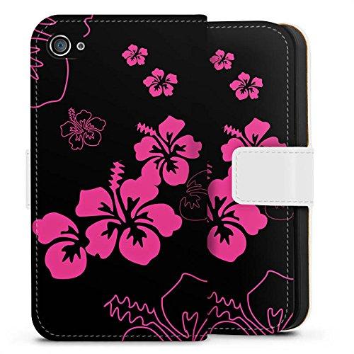 Apple iPhone X Silikon Hülle Case Schutzhülle Blumen Schwarz Pink Muster Sideflip Tasche weiß