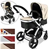 Infantastic Baby Child Pushchair Pram / Stroller 2in1 with Carry Cot (black-beige)