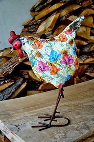 Sophias Schwester handbemalt rustikal Shabby-Chic-Stil Metallhuhn Garten oder Innenbereich Ornament. Ungewöhnlich, fröhlich und lustig