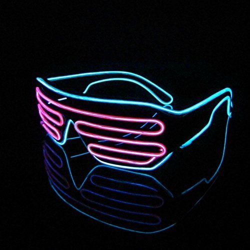 Lerway 2 Bicolor EL Leuchtbrille Party Club LED Brille + Standard Control Box für Masquerade Party Nacht Pub Bar Klub Rave (rosa + blau)