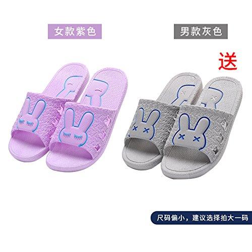 DogHaccd pantofole,Il bagno pantofole donne indoor estate anti-slip da bagno soggiorno di casa con un paio di pantofole fresca estate maschio Grigio viola1
