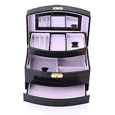 Hotrose Large Space Lockable Jewellery Case 3 Layers with Mirror for Earrings Necklace Jewels Bracelets Organiser Jewelry Storage Box (Black)
