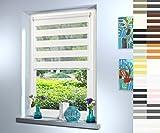 Doppelrollo nach Maß, hochqualitative Wertarbeit, alle Größen und 18 Farben verfügbar, inkl. Seitenführung, Rollo nach Maß, Duo Rollo, für Fenster und Türen, Klemmfix ohne Bohren (160cm Höhe x 130cm Breite / Off White)