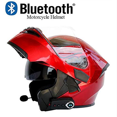 NBZH Casco modulare da Moto Bluetooth Integrato, Certificazione ECE 22.05 DOT Safety Casco Integrale da Gara,DwihtFM,XL