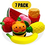 Squishies Jumbo - Jumbo Squishies Slow Rising and Scented Fruit Squishy Kawaii Stress Relief Toys Squeeze Soft Toys for Kids Children Adults 7Pcs