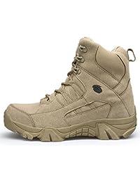 MHSXN Bottes Hommes Armée Militaire Tactique En Plein Air Désert Hommes  Respirant Camping Randonnée Combat Lacer Haut Haut Chaussures… 9176b75ca453