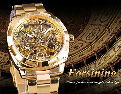 YANGSANJIN Herren Damen mechanische Automatik Skelett-Automatikuhr mit Glasboden und Metallarmband, Gold (Fossil Skelett-uhr Damen)