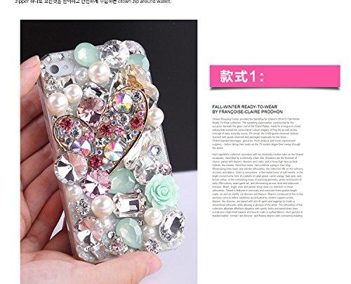 Coque iPhone 6/6S , iNenk® GEM Diamond Téléphone Mobile manchon protecteur luxe paillettes diamant coeur Etui PC couvercle-noir blanc