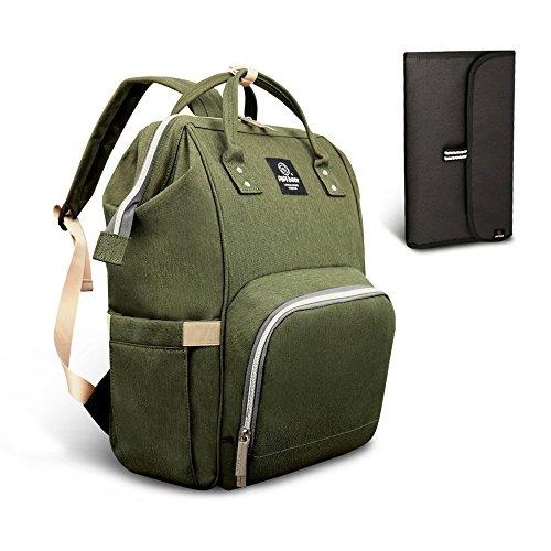 HEYI Mutifunktionale Wickeltasche Rucksack, Wasserdichte Wickelrucksack Tasche, Große Reisetasche für Mutter und Baby (Oliv-Grün) -