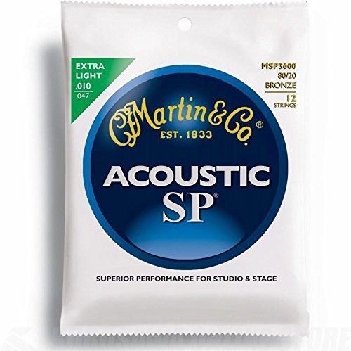 rensaiten für Akustikgitarren (80/20 Bronze, Stärke Extra Light .010 - .047) 12 Saiten (Martin 12 String Akustik Gitarre)