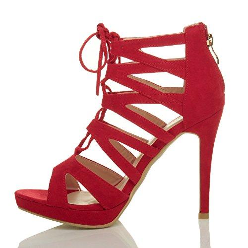 Donna tacco alto stringhe cerniera lampo aperte a punta sandali scarpe numero Rosso scamosciata