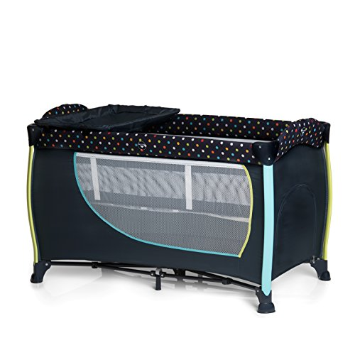 Hauck 600573 Sleep'n Play Center II, inklusive Räder, Schlupf, 2. Ebene, Wickelauflage, Toybag, Vibration, 60 x 120 cm, Multi Dots navy