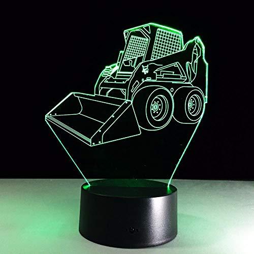 Gwgdjk Acryl Panel Bulldozer Aushub 3D Lava Lampe 7 Farben Ändern Led Nachtlicht Stimmung Dekor Geburtstagsgeschenk Schlafzimmer Tischlampe