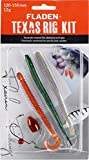 Fladen pesca Texas Rig kit set–12g 10A 15cm (rosso o verde) contiene 3Jigs/peso e sfera/Hand Tied Rig/fluorocarbon/offset Hook 1/0/perline di vetro e girevole–ideale per predatori specie particolarmente persico, Red