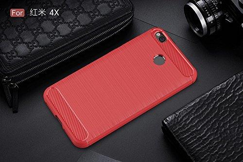 EKINHUI Case Cover Dünn und leichtgewichtig gebürstet Carbon Fibre robuste Rüstung zurück Deckel Stoßstange Fall Stoßfeste Drop Resistance Shell Abdeckung für Xiaomi Hongmi 4X ( Color : Red ) Red