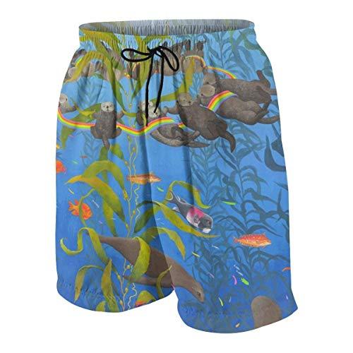 vcbndfcjnd Sea Otters Seals Rainbow Boys Beach Shorts Quick Dry Beach Swim Trunks Kids Swimsuit Beach Shorts,Boys' Silver Ridge III Short L - Gold Seal Häuser