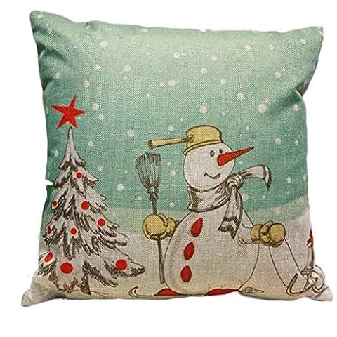 Joyeux Noël ! Reaso Fête de Noël Décoration Housse de coussin Housse d'Oreiller (C)