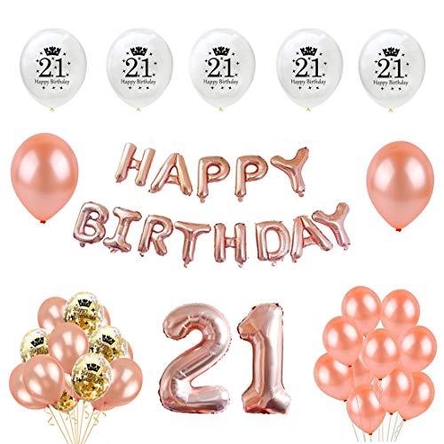 Unique Party 92062 9 Ft Folie Set Pink Happy 21st Birthday Banner