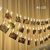 KNONEW Catena Luminosa, Striscia LED, Molletta, Clip Foto, - 40 Foto Clips 5M Batteria Alimentato LED Immagine Illuminazione per Attaccatura e Decorazione Tabella Foto, Opera D'arte,Nota (bianco-caldo)