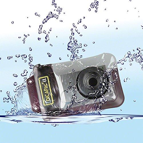 Dicapac wp-410 custodia waterproof per fotocamere digitali compatte, spessore piccolo, con grandangolo, tenuta stagna fino a 10 metri, lenti in policarbonato con protezione uv, zoom sempre utilizzabile, auto-galleggiante
