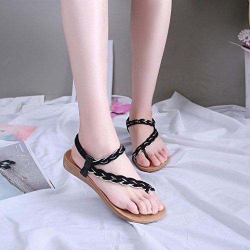 Kaiki Frauen flache Geflochtene Schuhe Bandage Bohemia Freizeit Strand Sandalen Peep-Toe Outdoor Shoes Black