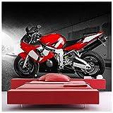azutura Red Motorrad Fototapete Motorsport Tapete Jungen Schlafzimmer Haus Dekor Erhältlich in 8 Größen Extraklein Digital
