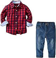 amropi Ragazzi Abiti Set Griglia Maniche Lunghe Camicie e Jeans Pantaloni 2 Pezzi Outfits per 2-8 Anni