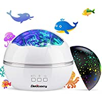 [Baby Night Light] Ocean Wave Projector,Delicacy 2 in 1 LED Starry & Undersea Projector Lamp,8 Color Changing Night Light Projector for Kids Adults Bedroom Living Room Decoration